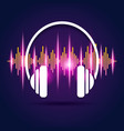 bright audio equalizer with flat white headphones vector image vector image