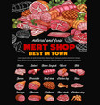 butchery shop products meat sausages chalkboard vector image vector image