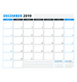 calendar template for december 2019 business vector image vector image