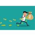 Careless Businessman Carrying a Torn Money Bag vector image