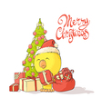 Chicken near a Christmas tree vector image vector image