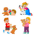 children playing with their pets and animal vector image