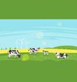 cows graze in a field vector image vector image