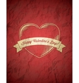 Crumpled vintage Valentines Day card with ribbon vector image vector image