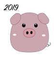 cute funny pig isolated on white background flat vector image