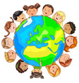 cute kids different nationalities around planet vector image vector image