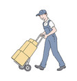 delivery man or courier in uniform pushing a hand vector image vector image