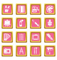 design and drawing tools icons set pink square vector image vector image