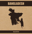 detailed map of bangladesh on craft paper vector image