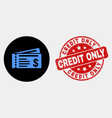 dollar cheques icon and grunge credit only vector image vector image