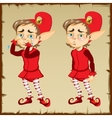 Dwarf in red clothing with sad and happy emotions vector image vector image