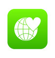 earth world globe with heart icon digital green vector image vector image