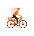 express delivery service icon courier boy riding vector image