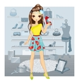 Fashion Girl Chooses Shoes vector image vector image