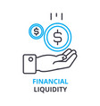 financial liquidity concept outline icon linear vector image vector image