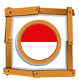 flag of indonesia on round frame vector image vector image