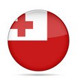 flag of tonga shiny black round button vector image vector image
