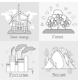 Flat set of ecology environment green clean vector image vector image