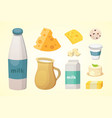 fresh organic milk products set with cheese vector image vector image