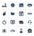 gadget icons set with cursor projector keyboard vector image