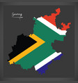 gauteng south africa map with national flag vector image vector image