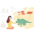 girl in virtual reality meeting dinosaur vector image vector image