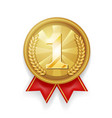 gold award sport 1st place medal red ribbon vector image vector image