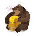 happy bear hugs wooden barrel of honey cartoon vector image vector image