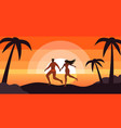 happy couple relaxing at sunset tropical beach vector image vector image