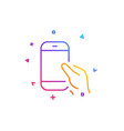 hold smartphone icon cellphone or phone sign vector image