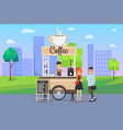 hot coffee street cart with vendor and buyers vector image