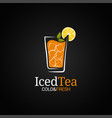 ice tea glass logo cold iced tea on black vector image