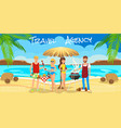 meeting friends on beach barbecue on beach vector image vector image
