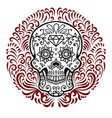 mexican sugar skulls with circular floral pattern vector image