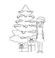 mom standing christmas tree and gift boxes vector image vector image