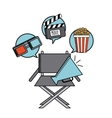 movie cinema flat line icon vector image