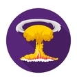Nuclear explosion icon in flat style isolated on vector image