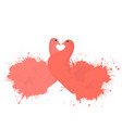 pair of coral enamored doves with watercolor vector image vector image