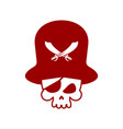 pirate skull logo head of skeleton and sabers vector image