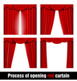 process of opening red curtain vector image vector image