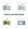 radio advertising icon set four elements in vector image vector image