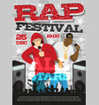 rap music festival announcement poster vector image