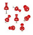 realistic detailed 3d red push pins different vector image