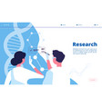 research lab landing researchers scientists test vector image vector image