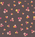 scattered pink yellow ditsy flowers seamless vector image