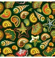 Sea shells seamless pattern in colorful on white vector image