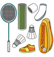 set badminton equipment vector image