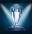 shining silver cup with projectors vector image