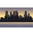 Silhouette of city with black background vector image