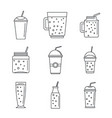 smoothie fruit juice icons set outline style vector image vector image